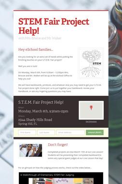 STEM Fair Project Help!