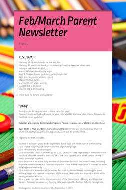 Feb/March Parent Newsletter