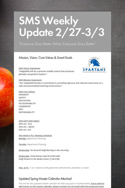 SMS Weekly Update 2/27-3/3