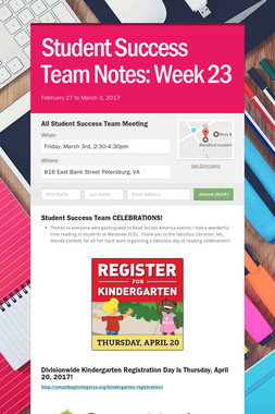 Student Success Team Notes: Week 23