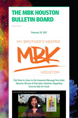 THE MBK HOUSTON BULLETIN BOARD