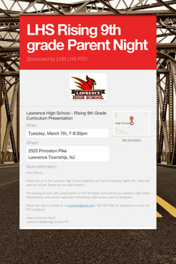 LHS Rising 9th grade Parent Night