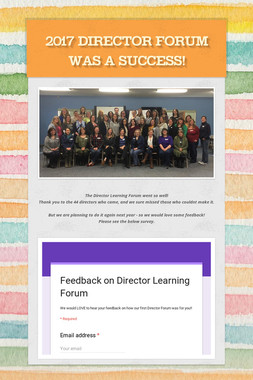 2017 Director Forum was a success!