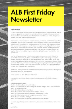 ALB First Friday Newsletter