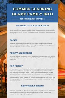 Summer Learning Glamp Family Info