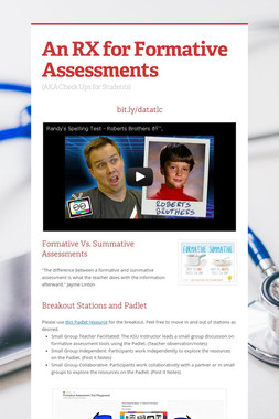 An RX for Formative Assessments