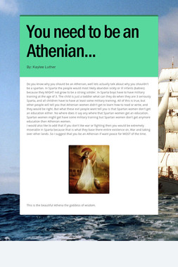 You need to be an Athenian...