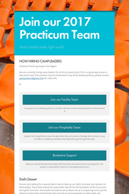 Join our 2017 Practicum Team