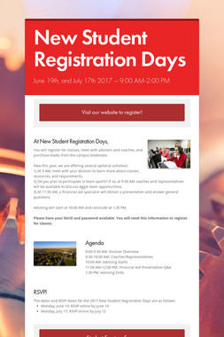 New Student Registration Days