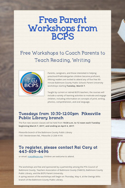 Free Parent Workshops from BCPS