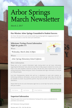 Arbor Springs March Newsletter