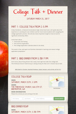 College Talk + Dinner