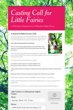 Casting Call for Little Fairies