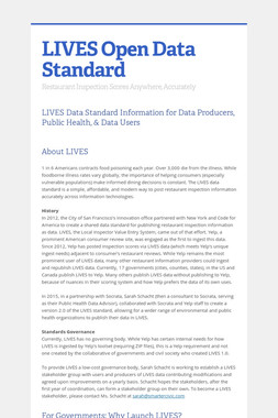 LIVES Open Data Standard
