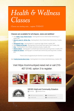 Health & Wellness Classes
