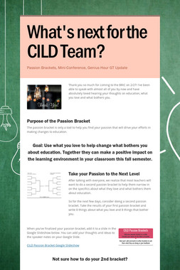 What's next for the CILD Team?