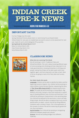 Indian Creek Pre-K News