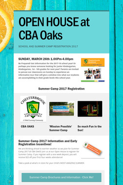 OPEN HOUSE at CBA Oaks
