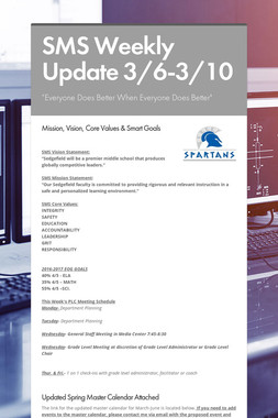 SMS Weekly Update 3/6-3/10