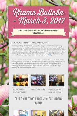 Rhame  Bulletin - March  3, 2017