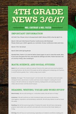 4th Grade News 3/6/17
