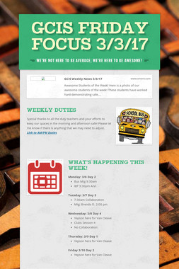 GCIS Friday Focus 3/3/17