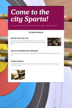 Come to the city Sparta!
