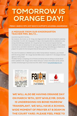 Tomorrow is ORANGE DAY!