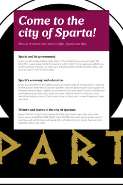 Come to the city of Sparta!