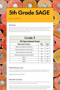 5th Grade SAGE