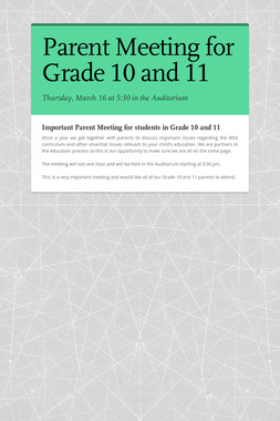 Parent Meeting for Grade 10 and 11