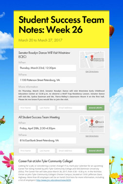 Student Success Team Notes: Week 26