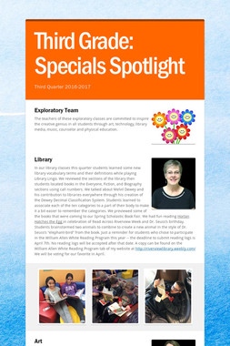 Third Grade:    Specials Spotlight