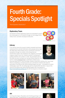 Fourth Grade:    Specials Spotlight