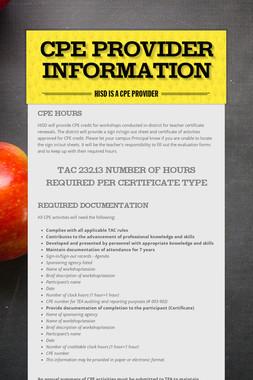 CPE Provider Information