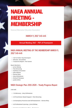 NAEA ANNUAL MEETING - MEMBERSHIP