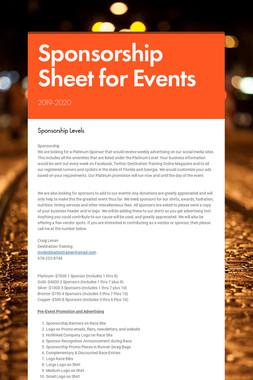 Sponsorship Sheet for Events