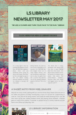 LS LIBRARY NEWSLETTER may 2017