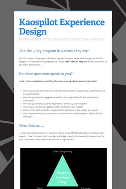 Kaospilot Experience Design