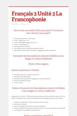 Français 3 Unité 3 La Francophonie