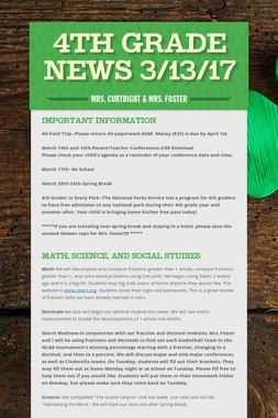 4th Grade News 3/13/17