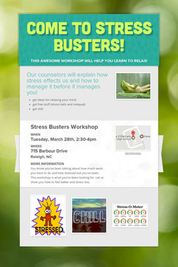 Come to Stress Busters!