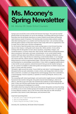 Ms. Mooney's Spring Newsletter