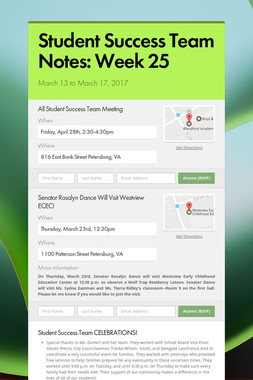 Student Success Team Notes: Week 25