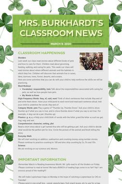 Mrs. Burkhardt's Classroom News