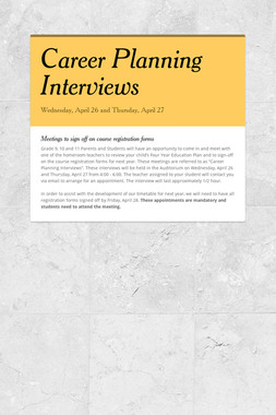 Career Planning Interviews