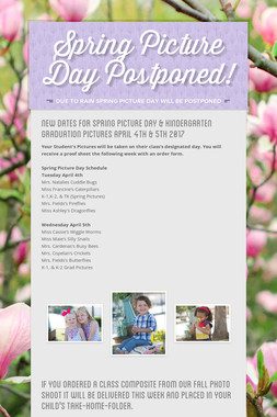 Spring Picture Day Postponed!