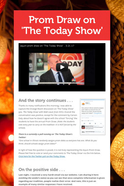 Prom Draw on 'The Today Show'