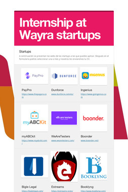 Internship at Wayra startups