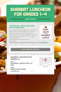 Shabbat Luncheon For Grades 1-4